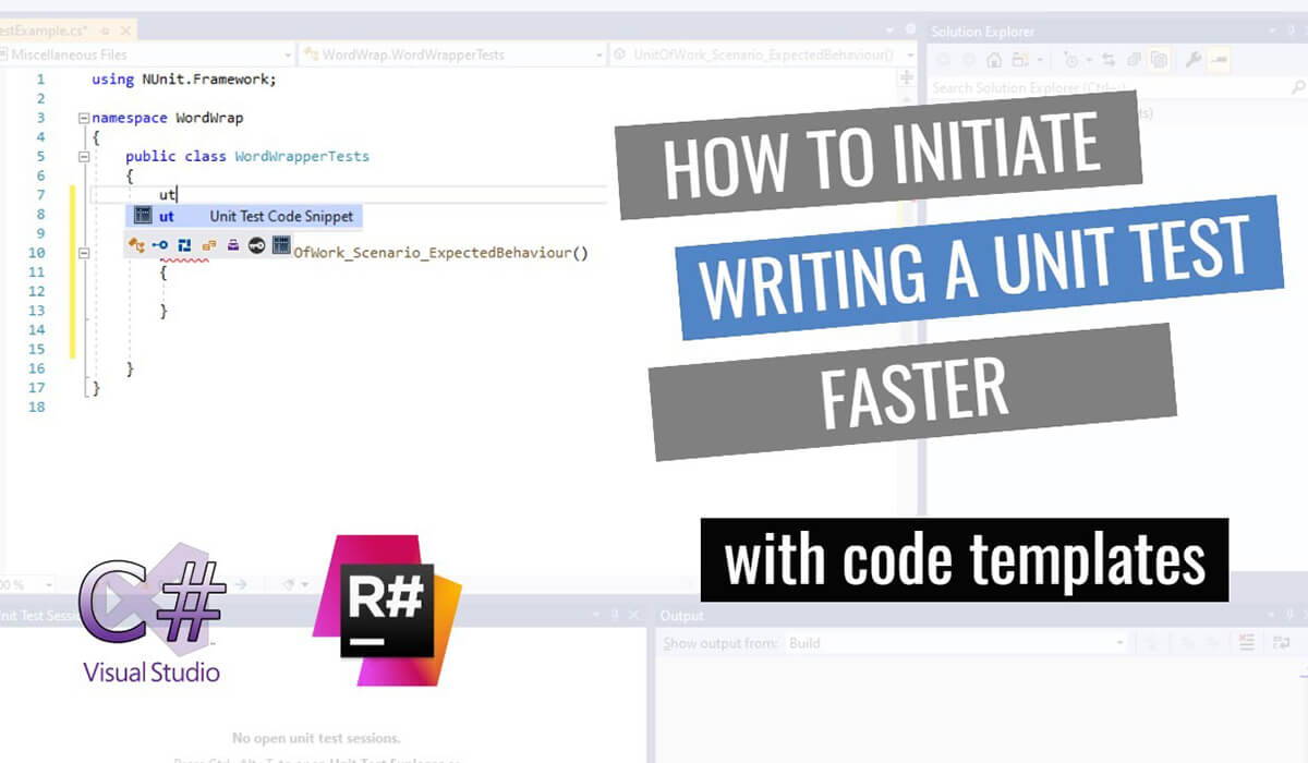 How to initiate writing a unit test faster